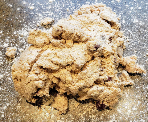 Cooking With Candy: All City Candy's Red Velvet Chocolate Cherry Scones - Pour Dough Onto Floured Work Surface