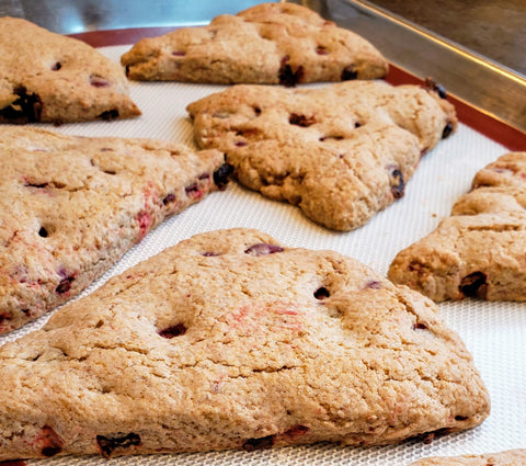 Cooking With Candy: All City Candy's Red Velvet Chocolate Cherry Scones - Cool Scones On Pan