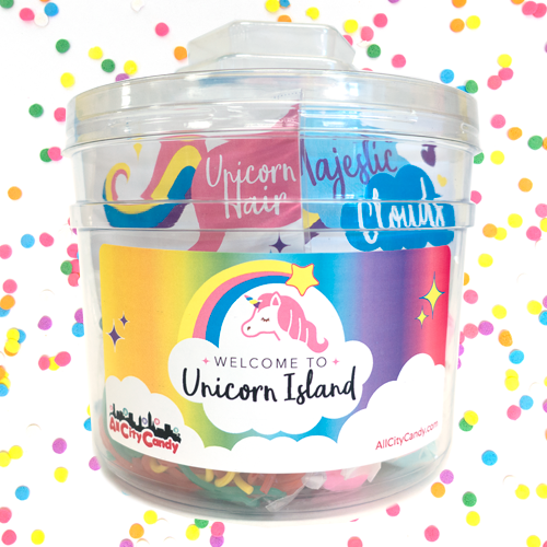Unicorn Island Magical Bucket with ten unicorn themed bags of candy and a unicorn island adventure story! Great gift idea for anyone who loves unicorns!All City Candy is your source for bulk candy! Visit us at www.allcitycandy.com for fresh candy and great service