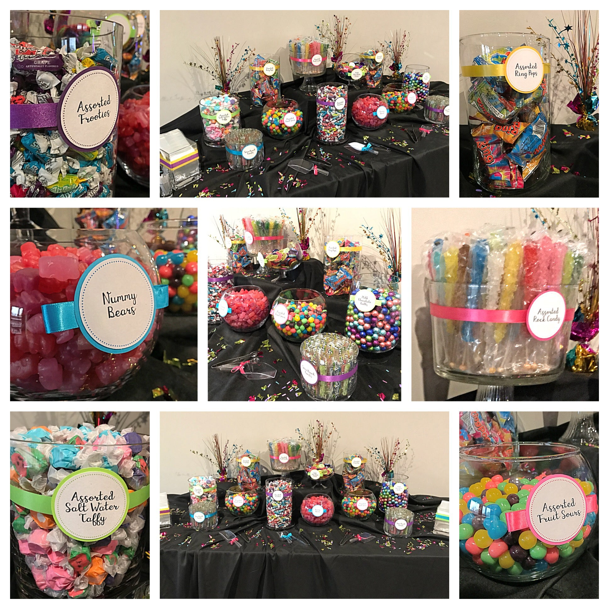 Bright Colors Bat Mitzvah Candy Buffet by All City Candy