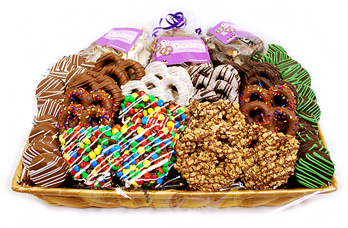 All City Candy offers gift baskets filled with delicious, chocolate dipped pretzels and cookies. Popular candy gift basket and candy gift ideas for all occasions. For fresh candy and great service, visit www.allcitycandy.com