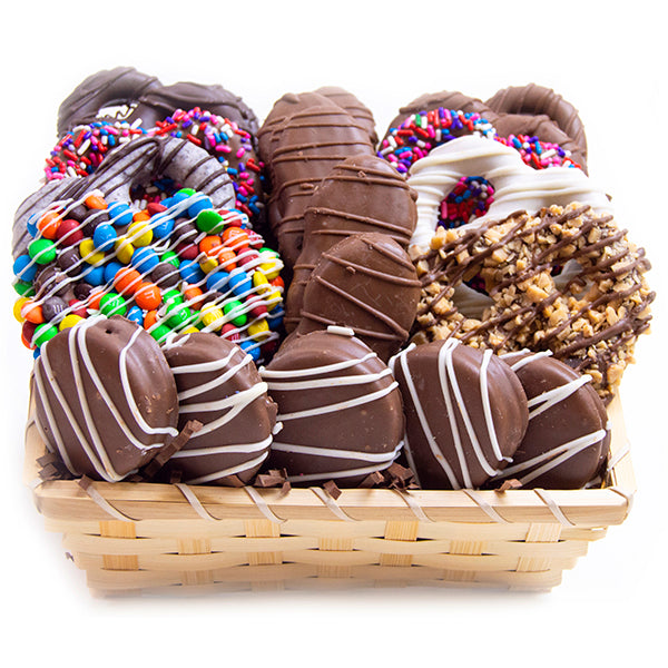Corporate and Holiday Gift Baskets with hand-dipped chocolate covered pretzels and Oreo cookies. For fresh candy and great service, visit AllCityCandy.com