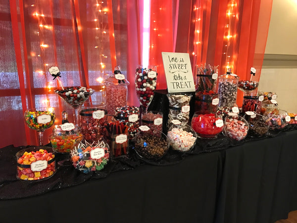 Red & Black Wedding Candy Buffet by All City Candy