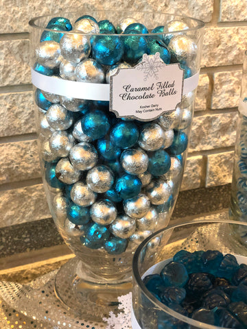 Snowflake Themed Corporate Holiday Party Candy Buffet by All City Candy