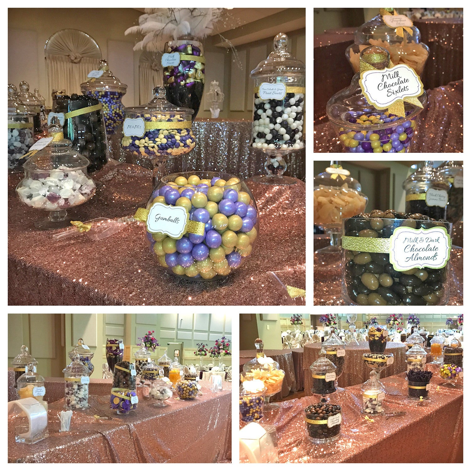 Purple & Gold Wedding Candy Buffet by All City Candy