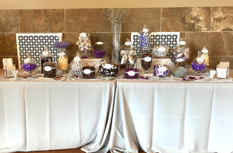 Purple and Silver Wedding Candy Buffet