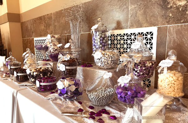 Purple silver wedding candy buffet great service fresh candy in purple silver wedding candy buffet by all city candy junglespirit Image collections