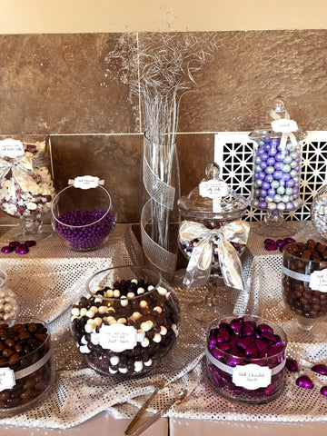 Purple & Silver Wedding Candy Buffet by All City Candy