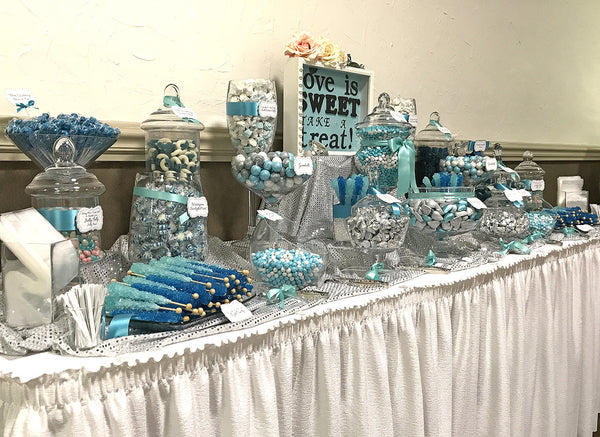 Tiffany Blue & Silver Wedding Candy Buffet by All City Candy