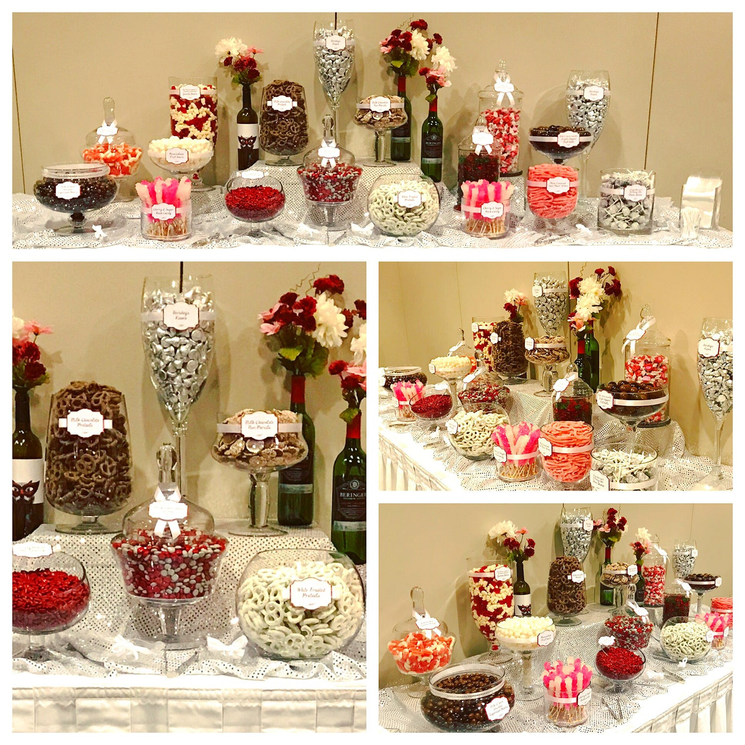 Red, Wine & Blush Wine Themed Wedding Candy Buffet by All City Candy