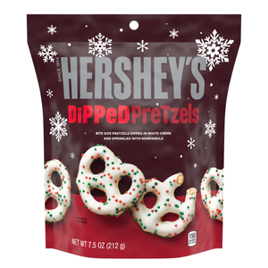 Hershey's Christmas White Cream Dipped Pretzels with Nonpareils