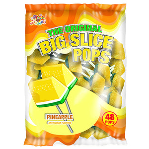 Big Slice Pops Pineapple Lollipops - Bag of 48