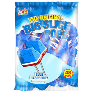 Big Slice Pops Blue Raspberry Lollipops - Bag of 48