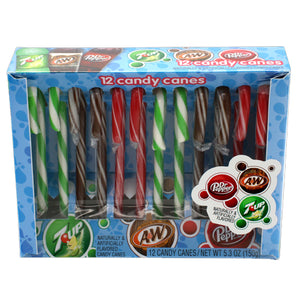 7UP, Dr. Pepper, and A&W Candy Canes - Box of 12