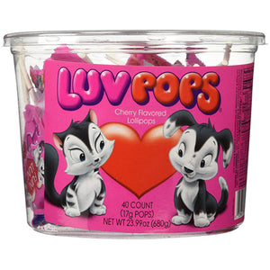 Luv Pops Cherry Flavored Lollipops - Tub of 40