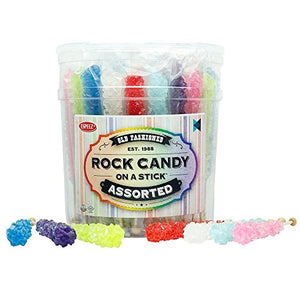 Assorted Rock Candy Crystal Sticks - Tub of 36