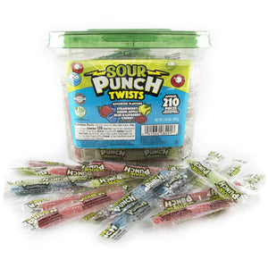 Assorted Sour Punch Twists Candy - Tub of 210