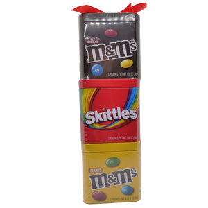 M&M's & Skittles Candies Gift Tin Tower - 3 Tin Pack