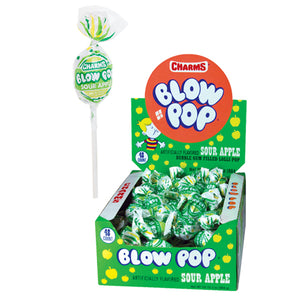 Charms Sour Apple Blow Pop Lollipops