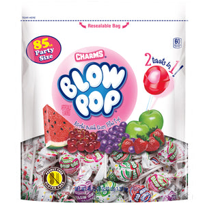 Charms Assorted Fruit Flavor Blow Pops Lollipops Party Size - Bag of 85