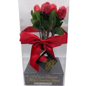 Dozen Belgian Milk Chocolate Mini Roses in a Vase with Window 2.11-oz Package