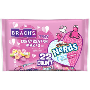 Brach's Tiny Conversation Hearts and Valentine Nerds Treat Boxes - 22 Count Bag