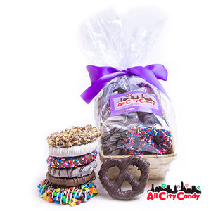 Delectable Dozen Gourmet Chocolate Covered Pretzel Twists Gift Basket