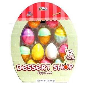 Dessert Shop Candy Filled Plastic Easter Hunt Eggs - Pack of 12