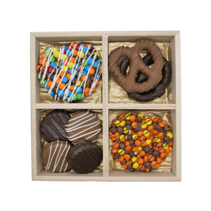 Chocolate Dipped Oreos and Pretzels Wooden Treat Tray