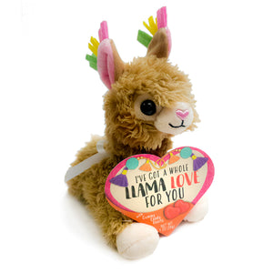 Valentine's Day Plush Llama with Gummi Candy Hearts