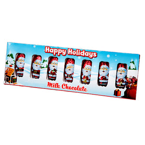 Foiled Milk Chocolate Santas - Box of 6