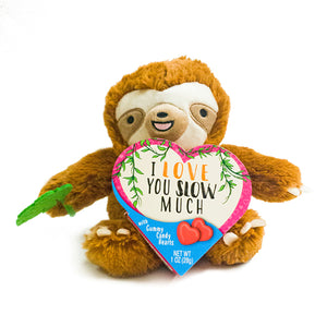 Valentine's Day Plush Sloth with Gummi Candy Hearts