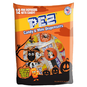 PEZ Candy & Mini Halloween Dispensers Party Bag - Bag of 12