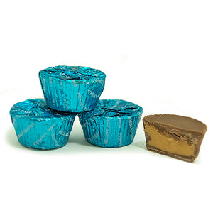 Palmer Caribbean Blue Foiled Mini Chocolate Peanut Butter Cups - 3 LB Bulk Bag