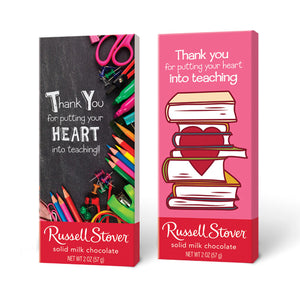 Russell Stover Solid Milk Chocolate Teacher Appreciation Candy Bar 2 oz.