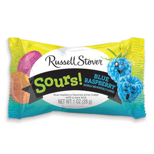 Russell Stover Solid White Fudge Sour Blue Raspberry Egg 1 oz.