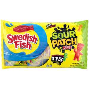 Sour Patch Kids & Swedish Fish Treat Size Variety Pack - Bag of 115