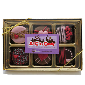 All City Candy Hand Dipped Gourmet Valentine Themed Chocolate Covered Oreo's - 6 Pack Box