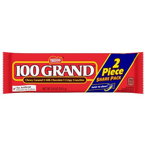 100 Grand Candy Bar Two Piece Share Pack 2.8 oz. For fresh candy and great service, visit us at www.allcitycandy.com