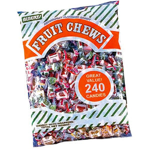 All City Candy Albert's Assorted Flavor Fruit Chews Candy - 240 Piece Bag Chewy Albert's Candy Default Title For fresh candy and great service, visit www.allcitycandy.com