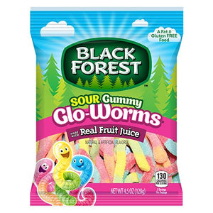 All City Candy Black Forest Sour Gummy Glo-Worms 4.5-oz. Peg Bag Gummi Ferrara Candy Company 1 Bag For fresh candy and great service, visit www.allcitycandy.com