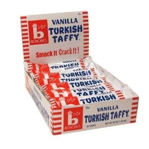 All City Candy Bonomo Vanilla Turkish Taffy Candy Bar 1.5 oz. Taffy Warrell Classic Company Case of 24 For fresh candy and great service, visit www.allcitycandy.com