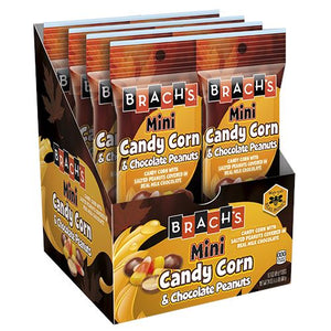 All City Candy Brach's Mini Candy Corn & Chocolate Peanuts - 2.5-oz. Bag Halloween Brach's Confections (Ferrara) Case of 8 For fresh candy and great service, visit www.allcitycandy.com