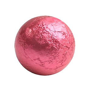 All City Candy Bright Pink Foiled Solid Milk Chocolate Balls - 2 LB Bulk Bag Bulk Wrapped SweetWorks For fresh candy and great service, visit www.allcitycandy.com