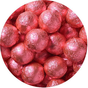 All City Candy Bright Pink Foiled Solid Milk Chocolate Balls - 2 LB Bulk Bag Bulk Wrapped SweetWorks Default Title For fresh candy and great service, visit www.allcitycandy.com