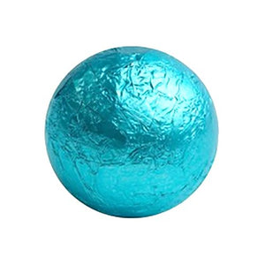 All City Candy Caribbean Blue Foiled Solid Milk Chocolate Balls - 2 LB Bulk Bag Bulk Wrapped SweetWorks For fresh candy and great service, visit www.allcitycandy.com