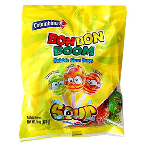 All City Candy Colombina Bon Bon Boom Sour Bubble Gum Pops - 6-oz. Bag Lollipops & Suckers Colombina For fresh candy and great service, visit www.allcitycandy.com