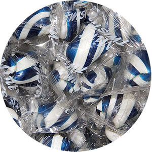 All City Candy Dark Blue & White Mint Twists Hard Candy - 3 LB Bulk Bag Bulk Wrapped Atkinson's Candy For fresh candy and great service, visit www.allcitycandy.com