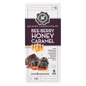 All City Candy Dark Chocolate Bee-Berry Honey Caramel Candy Bar 3.5 oz. Candy Bars Chocolate Chocolate Chocolate Company 1 Piece For fresh candy and great service, visit www.allcitycandy.com