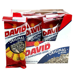 All City Candy David Sunflower Seeds Original Flavor - 1.75-oz. Bag Snacks ConAgra Case of 12 1.625-oz. Bags For fresh candy and great service, visit www.allcitycandy.com